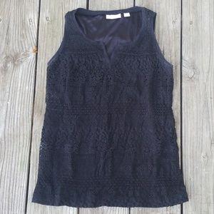 Crochet lace split neck tank